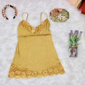 Mustard Yellow Retro Satin Lace Trim Camisole Top